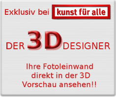 Exclusive to art for everyone, the 3D designer, your photo canvas directly in the 3D preview