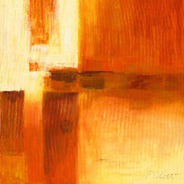 Fine Art Reproduction, individual art card: Petra Schüßler, Composition in Orange and Brown