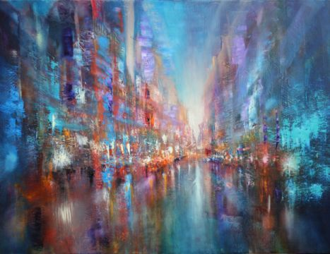 City blue of artist Annette Schmucker as framed image