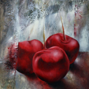 Cherries of artist Annette Schmucker as framed image