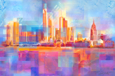 Frankfurt at Main Skyline of artist Petra Schüßler as framed image