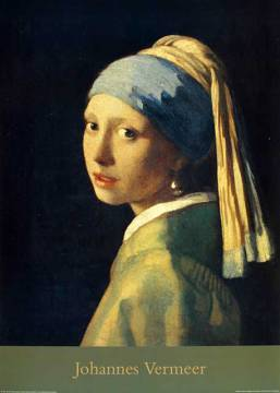Girl With Pearl Ear-Rings of artist Jan Vermeer van Delft as framed image