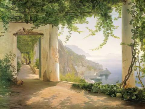 View to the Amalfi coast of artist Carl Frederick Aagaard as framed image