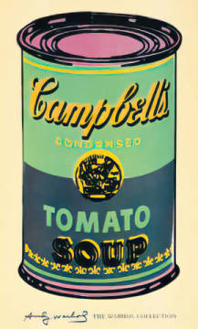 Campbell's Soup Can, 1965 (green & purple) of artist Andy Warhol as framed image
