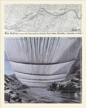 klassischer Kunstdruck, Kunstkarte: Christo und Jeanne-Claude, Over the River II Underneath