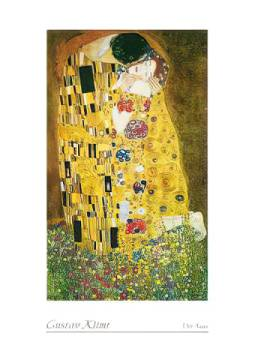 The Kiss of artist Gustav Klimt as framed image