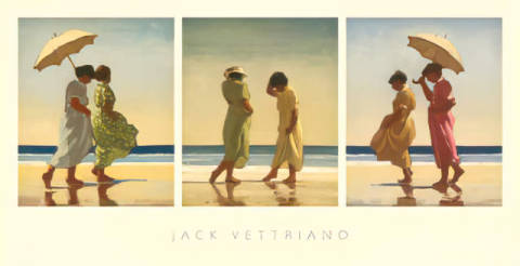 Summer Days - Triptych of artist Jack Vettriano as framed image