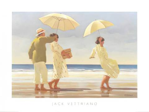 The Picnic Party (detail) of artist Jack Vettriano as framed image