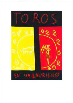 Toros En Vallauris, 1955 of artist Pablo Picasso as framed image