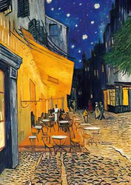 Café-Terrasse am Abend of artist Vincent van Gogh as framed image