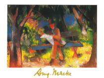 August Macke - Lesender Mann in Park, 1914