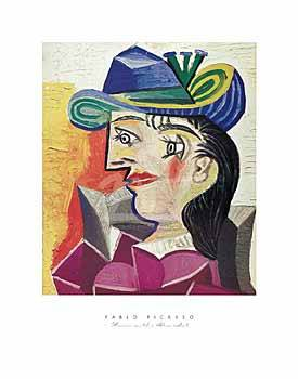Woman with a Blue Hat, 1938 of artist Pablo Picasso as framed image