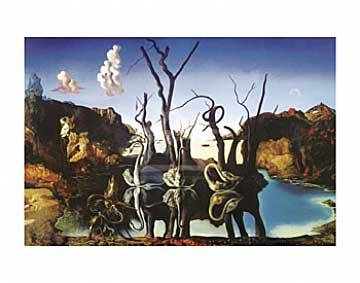 Swans reflecting elefants of artist Salvador Dalí as framed image