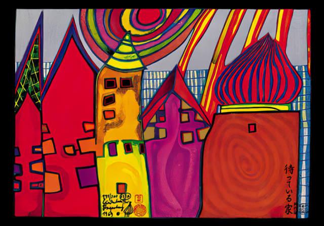 Hundertwasser Waiting Houses Post Card