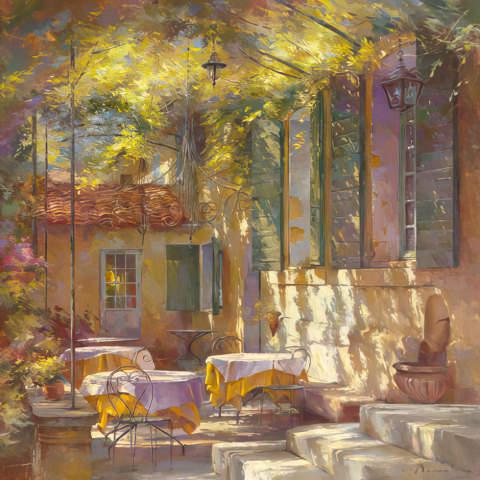 klassischer Kunstdruck A l´ombre de la terrasse von Johan Messely