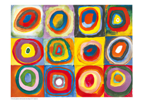 Art Print: Wassily Kandinsky, Colour Study: Squares with Concentric Circles