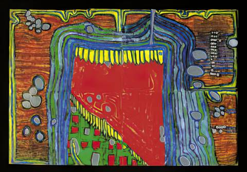 Art Card: Friedensreich Hundertwasser, Garden in the raintrop