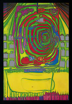 Green spiral at home of artist Friedensreich Hundertwasser as framed image