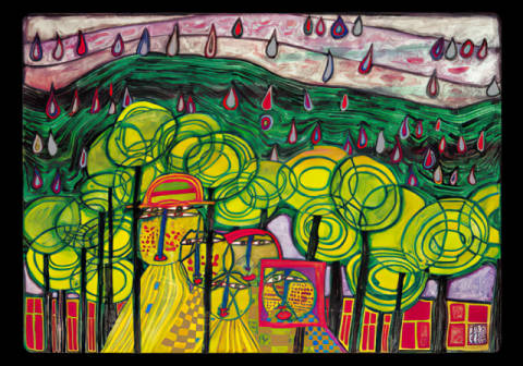 Kunstkarte: Friedensreich Hundertwasser, The rain falls far from us
