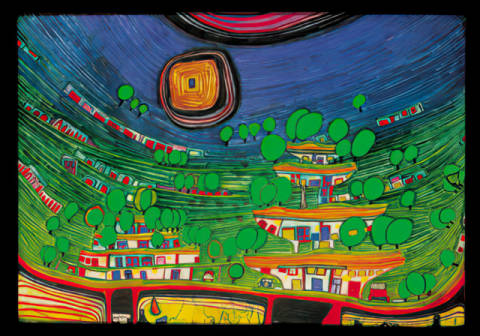 The houses are hanging underneath the woods of artist Friedensreich Hundertwasser as framed image