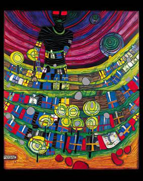 Blind Venus inside Babel of artist Friedensreich Hundertwasser as framed image