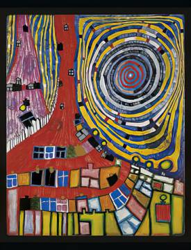 Mountain climbing windows II of artist Friedensreich Hundertwasser as framed image