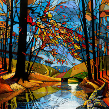 Autumn Stream of artist David James as framed image