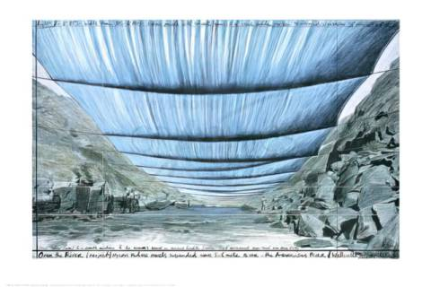klassischer Kunstdruck: Christo und Jeanne-Claude, Over the River IV, Underneath