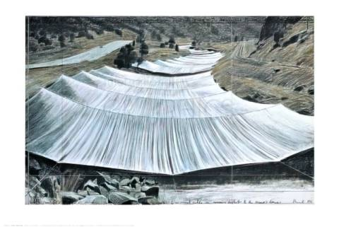 klassischer Kunstdruck: Christo und Jeanne-Claude, Over the River III, Above