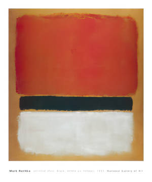 klassischer Kunstdruck: Mark Rothko, Untitled (Red, Black, White on Yellow), 1955