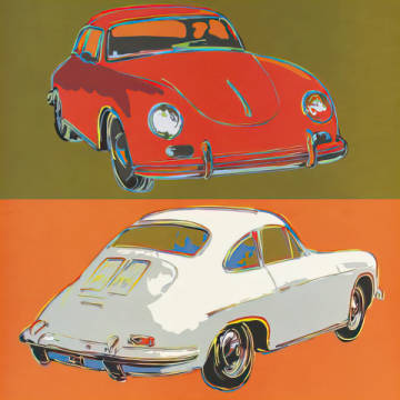 Porsche 356 squared of artist Rod Neer as framed image