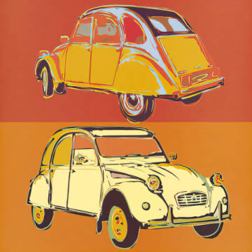 Citroen 2CV squared of artist Rod Neer as framed image