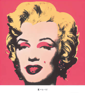 Shot Red Marilyn of artist Andy Warhol as framed image