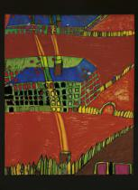 Friedensreich Hundertwasser - Blood garden houses with yellow smoke