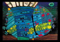 Friedensreich Hundertwasser - The blue moon - Atlantis - Escape to outer space
