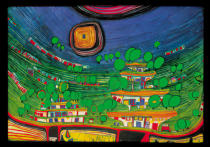 Friedensreich Hundertwasser - The houses are hanging underneath the woods