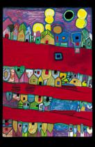 Friedensreich Hundertwasser - Red rivers streets of blood - red streets rivers of blood