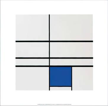 Untitled, (composition with blue), 1935 of artist Piet Mondrian as framed image