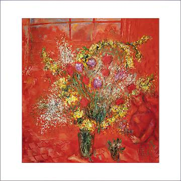 Fleurs sur fond rouge, 1970 of artist Marc Chagall as framed image