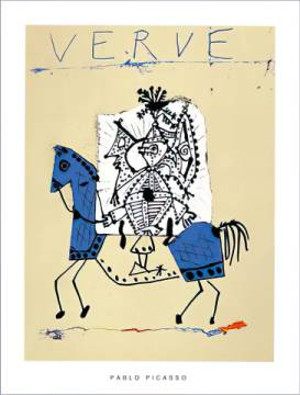 Cover for Verve, 1951 (blue) of artist Pablo Picasso as framed image