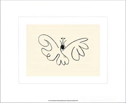The Butterfly of artist Pablo Picasso as framed image