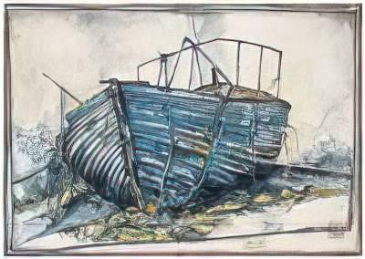 Altes Boot of artist Ole West as framed image