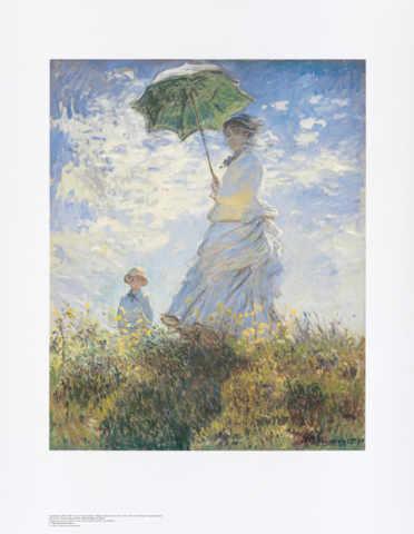 Claude Monet Frau Sonnenschirm Kind Art Print Canvas On Stretcher
