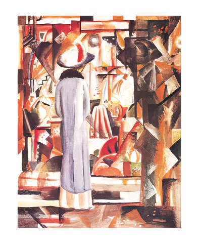 Großes helles Schaufenster Kunstdruck August Macke