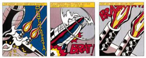 As I opened Fire (Triptychon) of artist Roy Lichtenstein as framed image