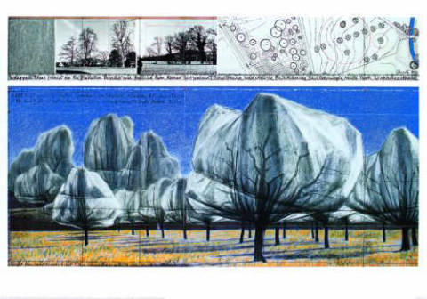 Art Print: Christo und Jeanne-Claude, Wrapped Trees Nr. VI (Riehen)