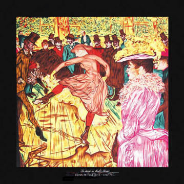 Tanz i.Moulin Rouge kl. of artist Henri de Toulouse-Lautrec as framed image