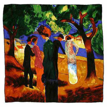 Silk Towels: August Macke, Dame i.gr.Jacke