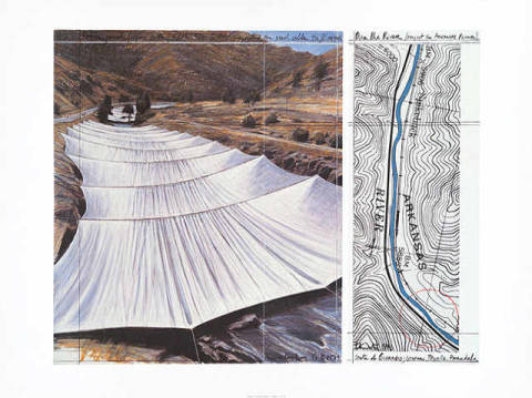 Over the River V Above of artist Christo und Jeanne-Claude as framed image