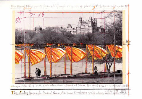 The Gates XXXV of artist Christo und Jeanne-Claude as framed image